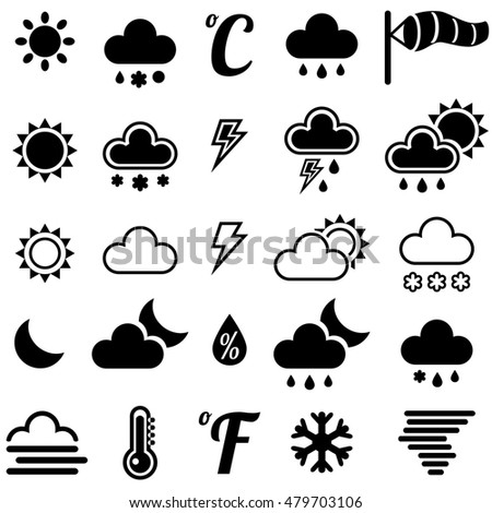 Weather icons on white background.