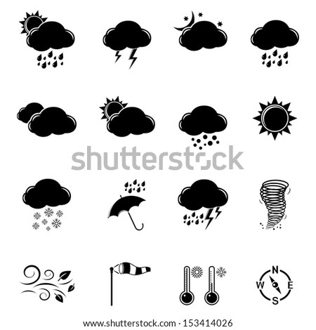 Weather icons set. Raster version. Vector version is also available. - stock photo