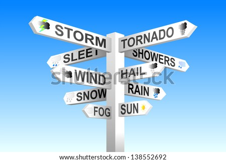 Weather signpost on blue sky background  - stock photo