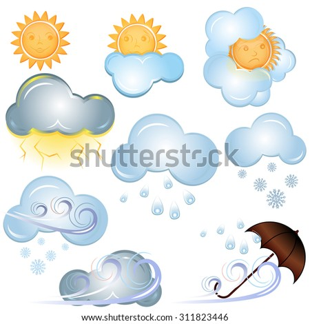 Weather signs isolated on white background. - stock photo