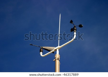 Weather Station instruments with a blue sky in the background - stock photo