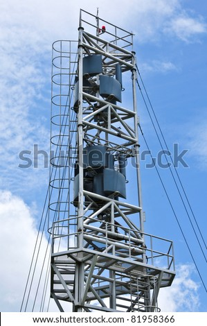 Weather station on blue sky in Thailand - stock photo