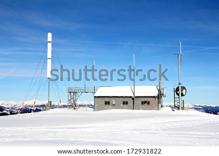 Weather station on the mountain, winter and snow, Gerlitzen, Austria - stock photo
