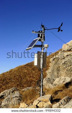 weather station with blue sky - stock photo