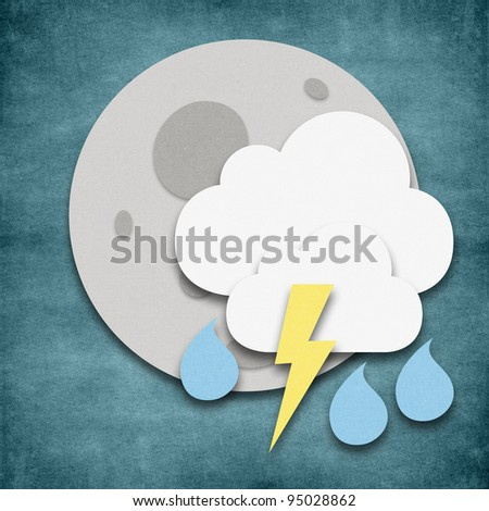 Weather storm and thunder night icon grunge recycled papercraft - stock photo