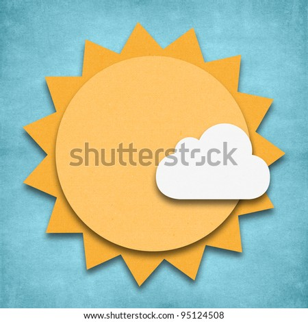 Weather sunny and cloud day icon grunge recycled papercraft - stock photo