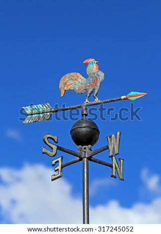 Weather vane vane for measuring wind direction with a rooster and the cardinal points - stock photo