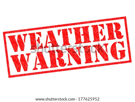 WEATHER WARNING red Rubber Stamp over a white background. - stock photo