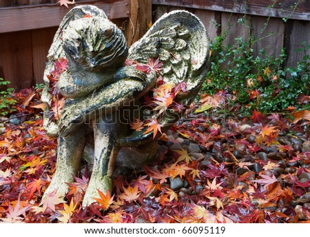 Weather worn ceramic cherub angel on fall leaves with redwood fence background