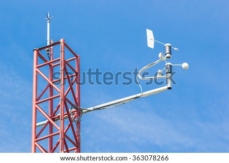 weathercock of weather station - stock photo