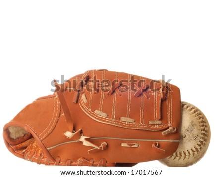 weathered baseball and baseball glove isolated on white background - stock photo