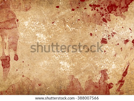 Weathered blood stains on old paper - stock photo