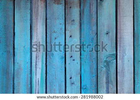 Weathered blue wall made of wood  - stock photo
