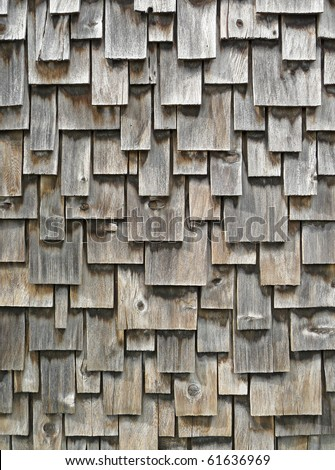 Weathered cedar shingle exterior siding - stock photo
