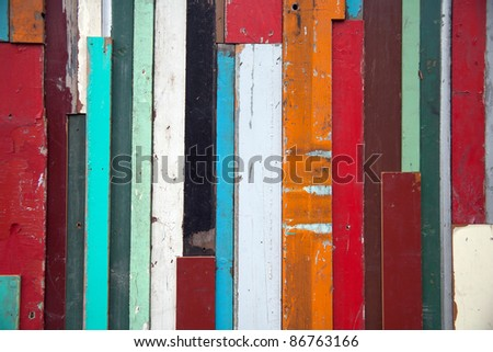weathered color used wooden wall - stock photo