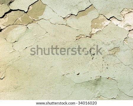 Weathered damaged old painted wall - stock photo