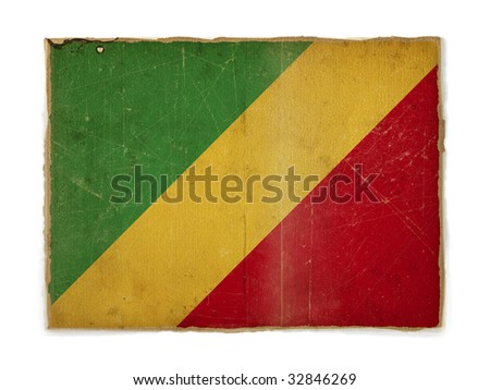 weathered flag of Congo Republic, paper textured