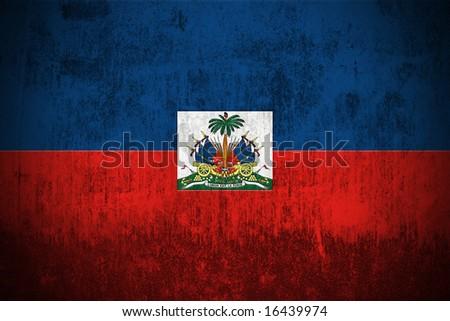 Weathered Flag Of Haiti, fabric textured - stock photo