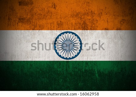 Weathered Flag Of India, fabric textured - stock photo