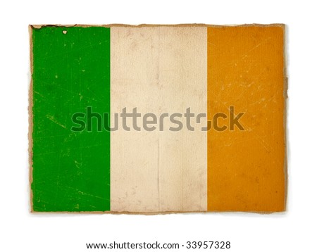 weathered flag of Ireland, paper textured