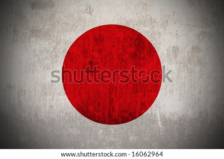 Weathered Flag Of Japan, fabric textured - stock photo