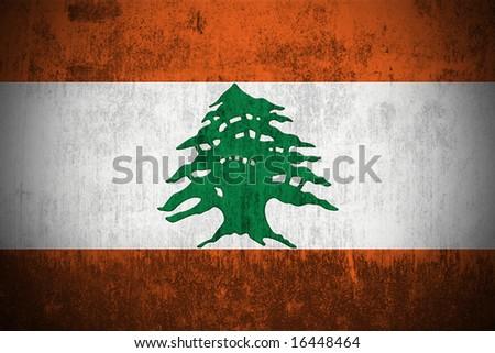 Weathered Flag Of Lebanon, fabric textured - stock photo