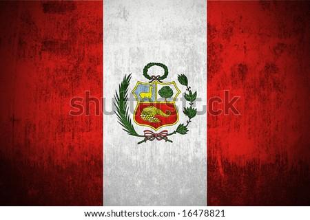 Weathered Flag Of Peru, fabric textured - stock photo