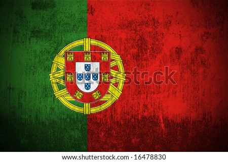 Weathered Flag Of Portugal, fabric textured - stock photo