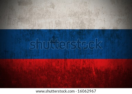 Weathered Flag Of Russia , fabric textured - stock photo