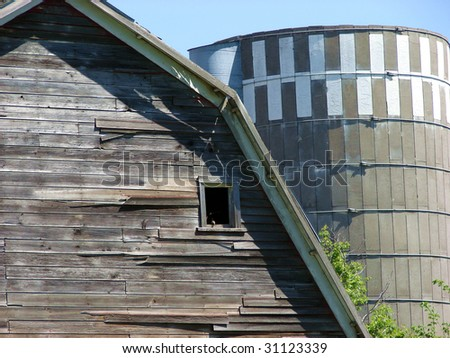 Weathered Old Barn With Silo