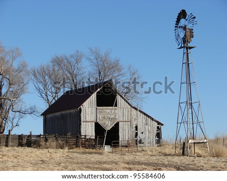 weathered old farm building barn - stock photo