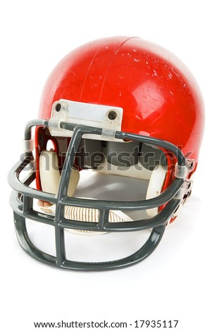 Weathered old football helmet, isolated on white. - stock photo
