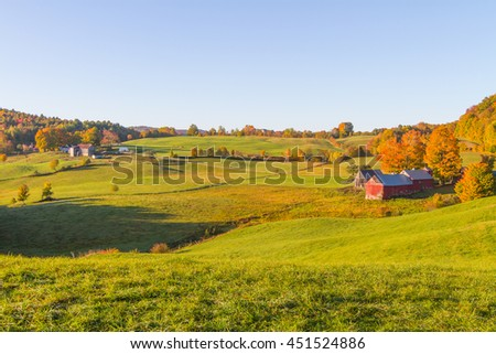 Weathered old red barn,Vermont, USA - stock photo