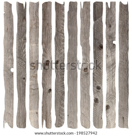 weathered old wood planks collection, isolation over white background - stock photo