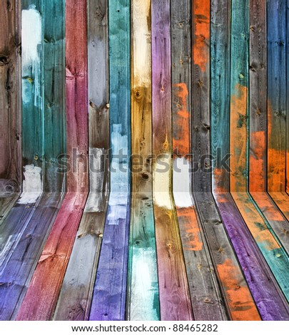 Weathered old wooden floor and wall color panels perspective - stock photo