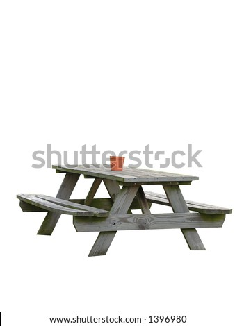 Weathered picnic table, isolated