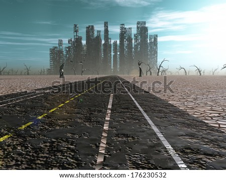 Weathered road leads into abandoned city - stock photo