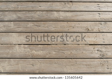 Weathered Wooden Boardwalk on Sand / Aged beach brown wooden floor over summer sand - stock photo