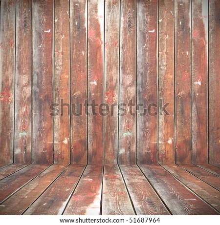 weathered wooden interior - stock photo