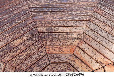 Weathered wooden square with textured grain and X -  shaped or diamond  -  shaped pattern - stock photo