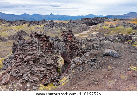 Weathering of volcanic lava at the foot of the Gorely volcano, Far east, Russia, Kamchatka - stock photo