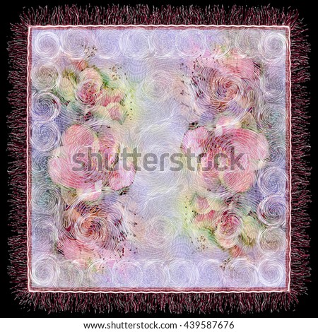 Weave lacy grunge striped and swirled tablecloth background with floral pattern and fringe isolated on black - stock photo
