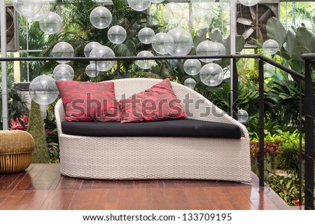 Weave Sofa Red Pillows Garden Stock Shutterstock