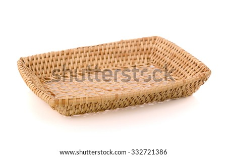 weave wicker basket isolated on white background
