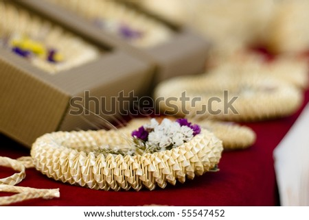 Weaved cornice from straws, Slovenian traditional souvenir - stock photo