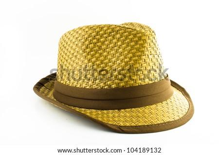 weaving cowboy hat isolated on white background - stock photo
