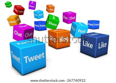 Web and Internet concept with social media and social network signs and words on colorful cubes isolated on white background. - stock photo
