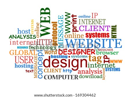 Web and internet design tags cloud with useful words. Vector version also available in gallery - stock photo
