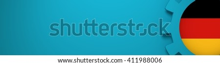 Web Banner, Header Layout Template. Gear and Germany flag within. 3D rendering - stock photo