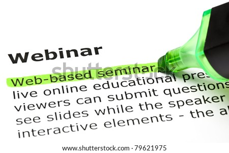 Web-based seminar highlighted in green, under the heading Webinar. - stock photo